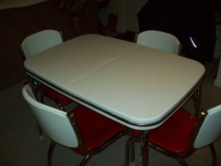 Vintage Arvin Dinette Set 1940's Metal Table Chairs Candy Apple Red White