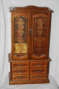 "23"" Tall Vintage Wood Jewelry Box Organizer Double Doors 7 Drawers Mirror"