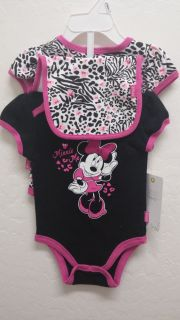 Baby Girl Disney Minnie Mouse 3 Piece Outfit Set Clothes One Piece Bodysuit