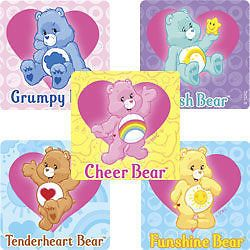 15 Care Bears Stickers Kids Party Treat Loot Bags Favors Teacher Supply Funshine
