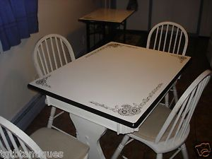 Vtg Art Deco Black White Enamel Top Table Chairs Matching Utility Cart