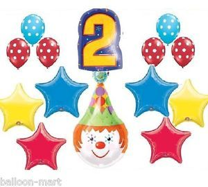 Clown Circus Party Balloons Birthday Supplies Second 2nd Red Blue Polka Dots New