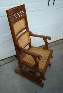 Antique Circa 1900 Victorian Eastlake Platform Rocker Cane Back Adjustable