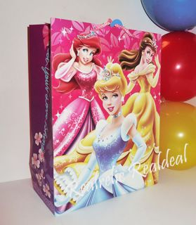 New Disney Princess Cinderella Belle Ariel Aurora 10 x 13 Goody Bag Party Tote