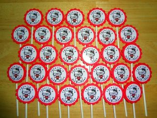 30 Personalized Geek Chic Hello Kitty Cupcake Toppers Birthday Party Favors