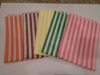 25 Stripe Paper Bags Party Favors Candy Buffet Pink Purple Yellow Green