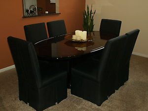 Henredon Dining Room Table Six Black Parsons Chairs Seats Eight with Leaf
