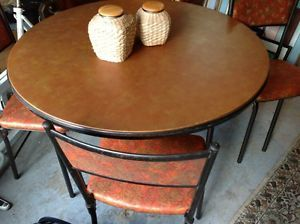REDUCED Cosco Vintage Vinyl Mint Patio Set 4 Folding Metal Chairs and Card Table