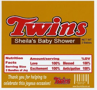 Twins Baby Shower Party Favors Candy Wrappers