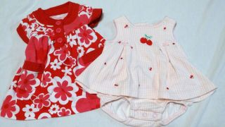 Baby Girls Newborn 2 Carter's Outfits Red Pink White Cherries Hearts Dress