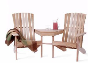 Western Red Cedar Adirondack Chairs Table 3 Piece Set Wood Furniture Outdoor