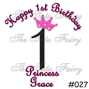 Pink Black Princess Crown Birthday Shirt Name Age Personalized Girl Baby Child