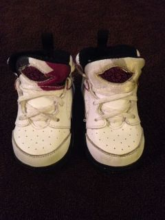 Nike Air Jordans Baby Girl or Boy Sz 3c White Purple Black High Tops