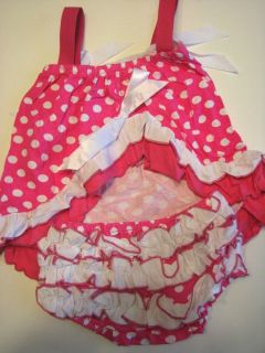 Swing Top Set with Bloomer Outfit Set Hot Pink and White Polka Dot 3 Sizes