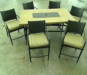 Hampton Bay Madison 7 Piece Patio High Dining Set with Bare Cushions $879 00