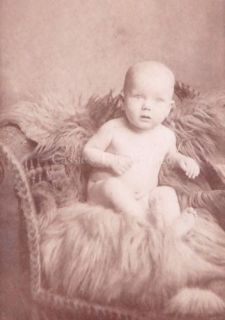Antique Cabinet Card Photo Wide Eyed Baby Fur Wicker NYC Late 1800s Early 1900s