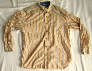 Tommy Bahama Relax Orange Striped Men's Shirt Sz Large L 100 Cotton Lawn Chair
