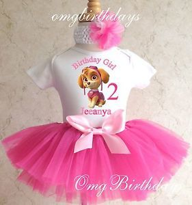 Skye Paw Patrol Tutu Birthday Personalized Outfit Custom Name Shirt 1st 2nd 3rd