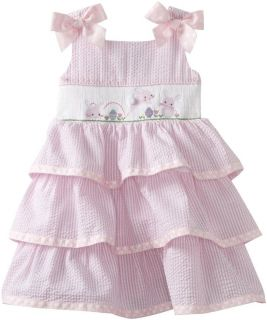 Mud Pie Baby Girls Easter Bunny Pink Smocked Dress Size 9 12Month New Seersucker