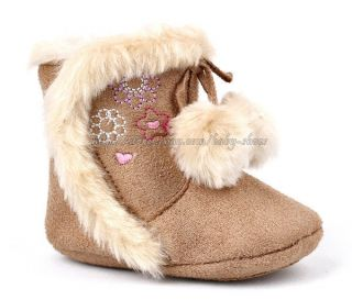 Toddler Baby Girl Pom Pom Boots Faux Fur Lined Crib Shoes Newborn to 18 Months