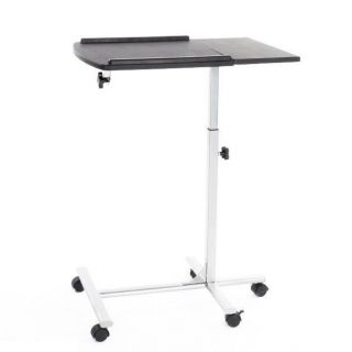 Angle & Height Adjustable Rolling Laptop Desk Over Bed Sofa Notebook Table Stand