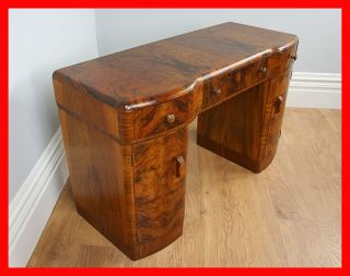 Antique Art Deco Burr Walnut Pedestal Office Desk Writing Side Dressing Table