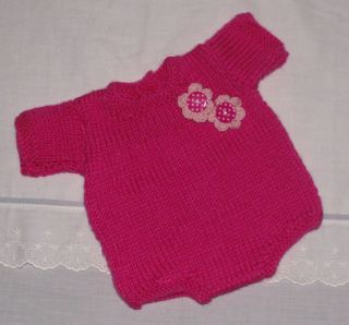 Hand Knitted Baby Reborn Doll Romper 14 Inches