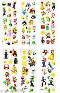 6 Sheets Super Mario Brothers Mini Stickers Birthday Party Supplies Favors