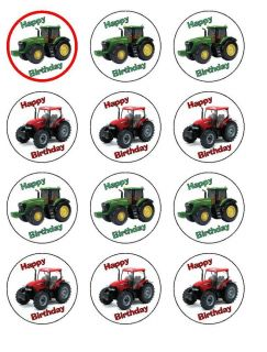 Tractor Red Green Edible Printed Icing Sheet Cupcake Topper x 12