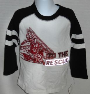 Gymboree Boy's Junior Firefighter to The Rescue Fire Truck Shirt Sizes 3 12
