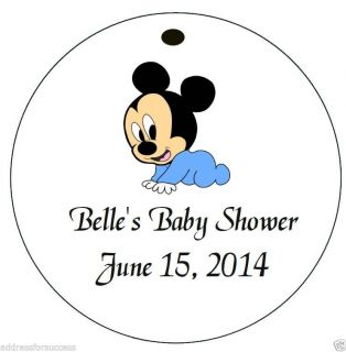 Mickey Mouse Baby Shower 12 Personalized Hanging Favor Round Gift Tags