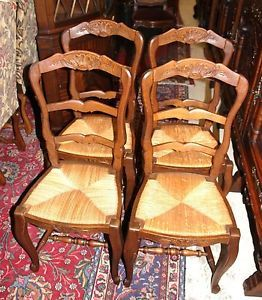 Beautiful Set of Four French Antique Louis XV Walnut Dining Chairs