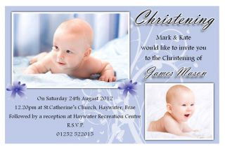 Personalised Christening Baptism Holy Communion Photo Invitations N67