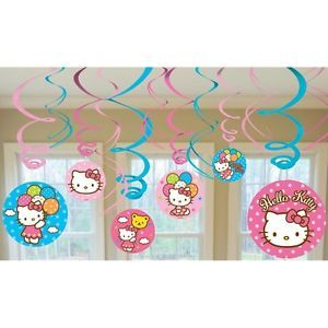 Hello Kitty 12pc Swirl Decoration Kit Birthday Party Supplies Decoration