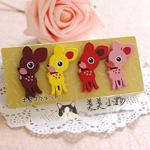 Pack of 4 Wooden Fridge Magnet Deer Wood Toy Kid Party Favor Supply Bag MAG006