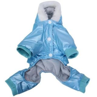 Shiny Blue Pet Dog Hoodie Hooded Winter Coat Jacket Jumpsuit Size XS