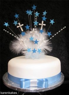 Blue Christening First Holy Communion Cake Topper with Diamante Crosses