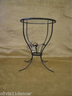 Vtg Black Metal Iron Table Mid Century Modern Plant Stand Side Table Glass Top