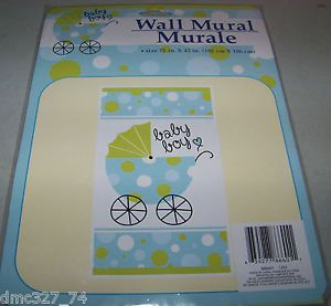 Baby Shower Decoration Blue Green Baby Boy Carriage Wall Door Mural New