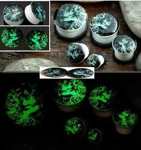 Pair Day of The Dead Glow in The Dark Acrylic Ear Gauges Ear Plugs Flesh Tunnels