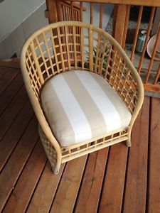Bamboo Furniture Tiki Rattan Chair New Cushion Rachel Ashwell Shabby Chic