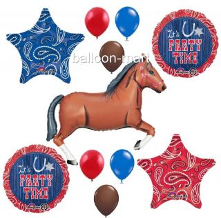 Western Party Balloons Decorations Bandana Cowboy Style Birthday BBQ Rodeo Horse