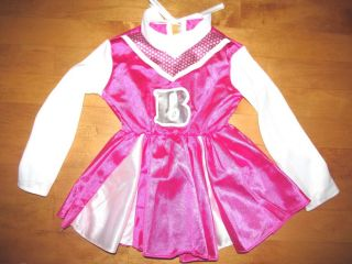 "Toddler Girls Rubies Pink Barbie ""B"" Cheerleader Costume Uniform Size 2 4T"