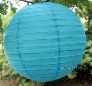 10 x 10'' 25mm Aqua Blue Chinese Paper Lantern Wedding Decoration Party Supplies