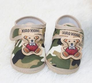 Newborn Infant Prince Baby Shoes Camouflage Brown Side Bear Soft Bottom Shoe