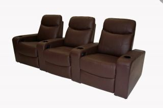 3 Brown Leather Cannes Home Theater Seating Recliners