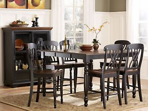 Luna 7pcs Traditional Cottage Square Counter Height Dining Table Chairs Set