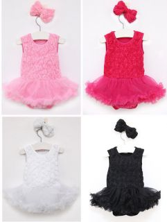 Newborn Infant Baby Girl Headband Romper Bodysuit Tutu Flower Clothes Outfit Set