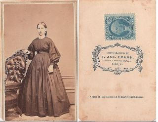 Young Woman w Nice Long Dress and Ornate Chair 2 Cent Stamp Civil War Era CDV
