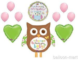 10pc Who Loves You Owl Balloons Set Party Supplies Birthday Pink Lime Green New